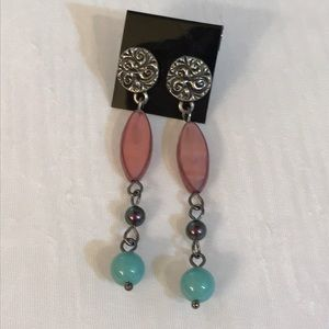 Boho earrings, long post earrings, mauve earrings